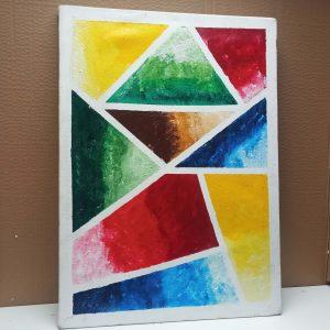 Multi-colored theme wall art piece