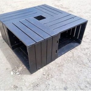Crate living room rustic black table