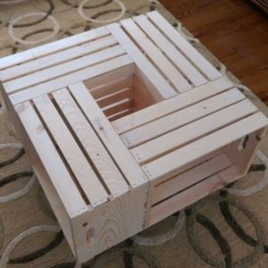Crate coffee table natural – white