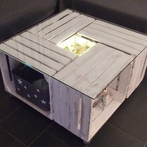 Crate Coffee table with glass top-white