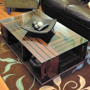Crate Coffee table rustic with glass top