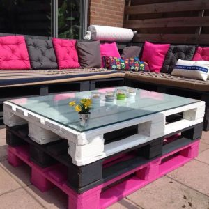 Pallet set- L sofa seat and table with glass top