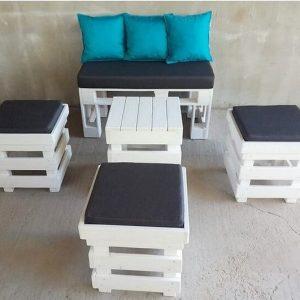 Pallet DIY set- sofa, stool, (cushioned) table