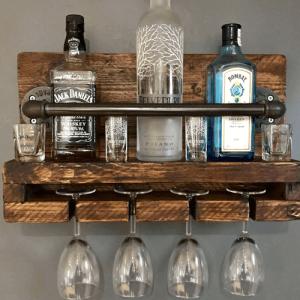 Wine/glass rack rustic – 4 bottle/glasses