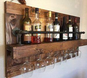 Wine/glass rack rustic – 6 bottle/glasses