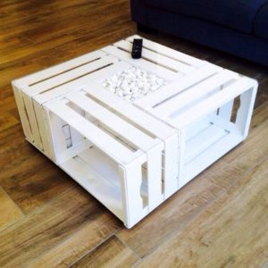 White crate coffee table