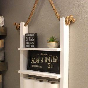 Washroom storage ladder shelf with rope